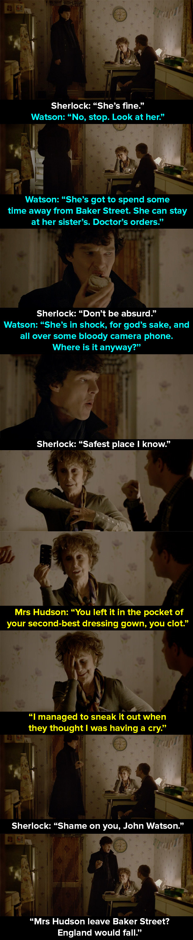 When Mrs Hudson is held hostage in the apartment.