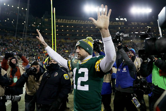 After a pretty forgettable first quarter in which he threw for just 19 yards, Aaron Rodgers finished the game with 362 passing yards, four touchdowns, and a 125.2 passer rating. Damn.
