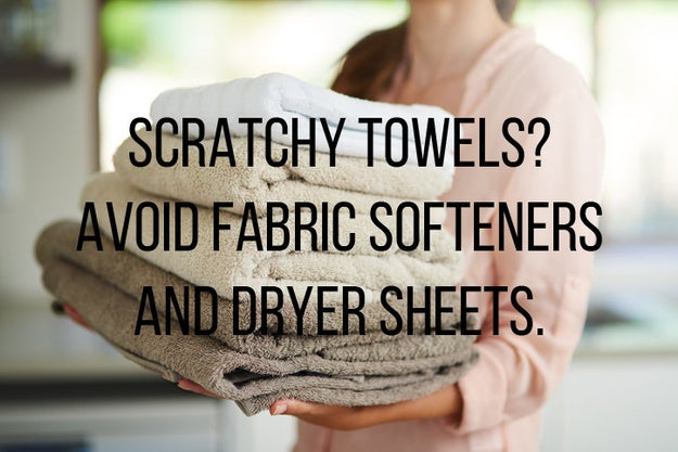 Are your towels feeling WAY less absorbent? Avoid fabric softeners and dryer sheets.