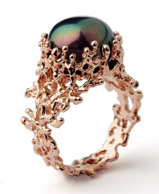 A statement black pearl ring that looks like a treasure Ariel dug out from the depths of the ocean.