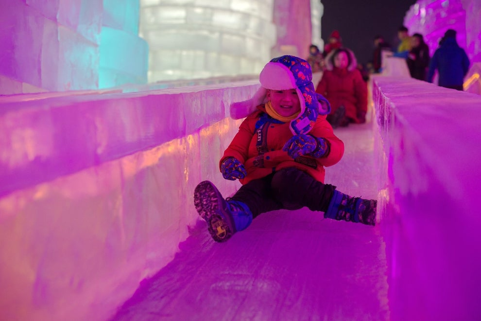 Just like cool light-up sneakers, some of the ice sculptures are illuminated by colored LED lights.