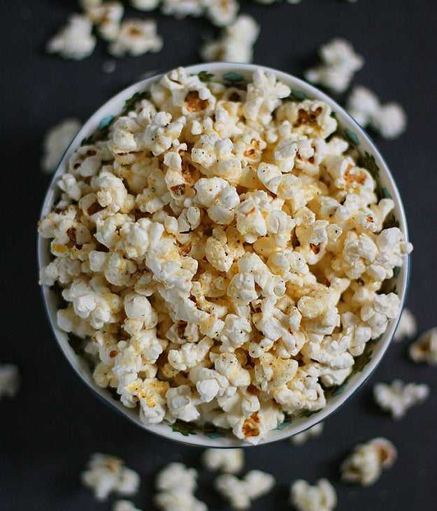 Skip microwave bags and go OG with your too-cold-to-venture-outside movie snack with a jug of popcorn kernels and tasty parmageddon popcorn recipe.