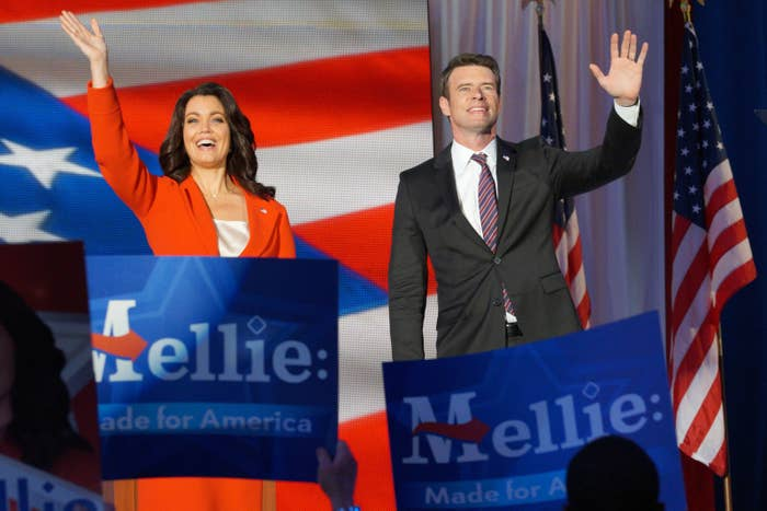 Bellamy Young and Scott Foley on Scandal.