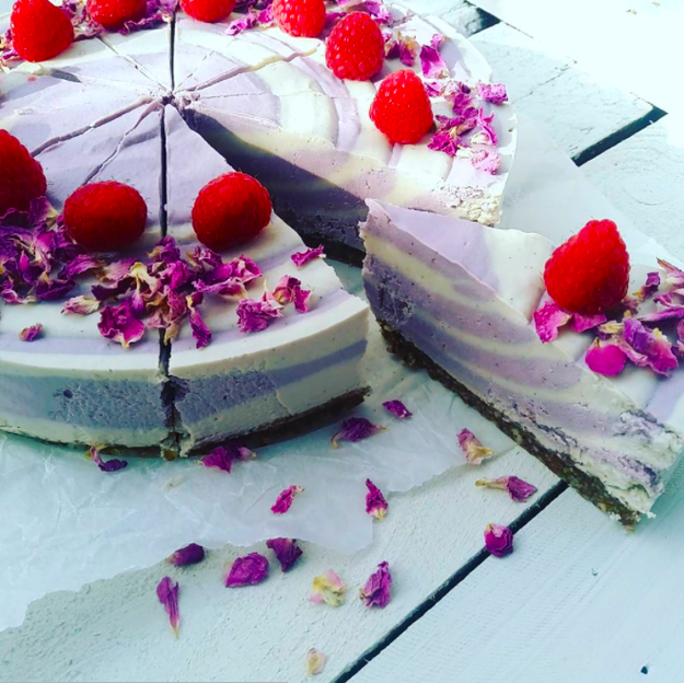 Vegan raspberry, rose, and vanilla cheesecake from Laurianne's Raw Cakes in Killearn.
