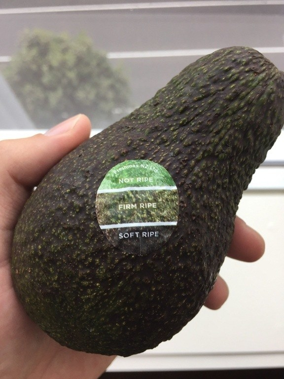 An avocado that comes with a sticker so you know when it's ripe.