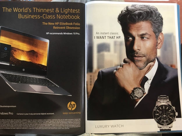 This HP ad that's designed to look like two different ads.