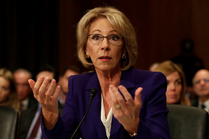 Betsy DeVos testifies in a confirmation hearing to be next secretary of education.