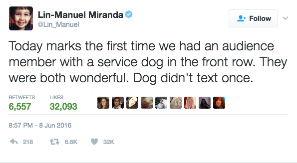 And finally, whoever this Hamilton-loving dog is.