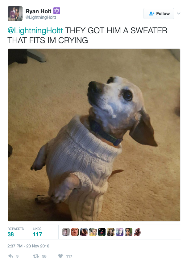 ...and his replacement well-fitting sweater: