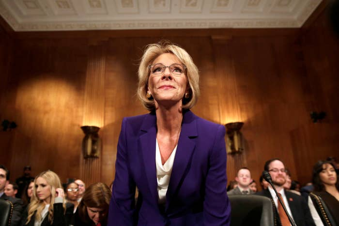 Betsy DeVos arrives at the Senate Health, Education, and Labor Committee confirmation hearing to be next secretary of education.