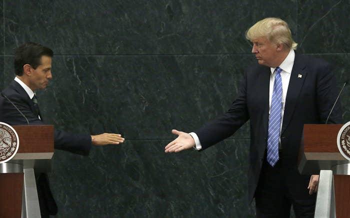 Mexico's President Enrique Peña Nieto and then-Republican presidential nominee Donald Trump shake hands on Aug. 31, 2016.