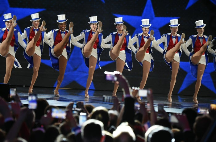 The Rockettes dance at a ball celebrating the inauguration of President Donald Trump.