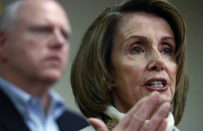 """House Minority Leader Nancy Pelosi delivers remarks at the House Democratic caucus """"Issues Conference"""" in Baltimore, Maryland."""