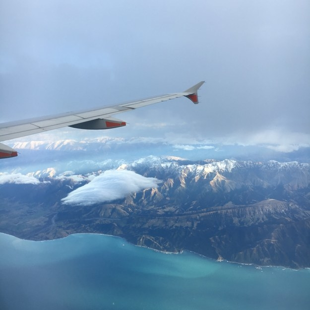 """Flying into New Zealand. You could see the water depth so clearly defined, it was crazy."""