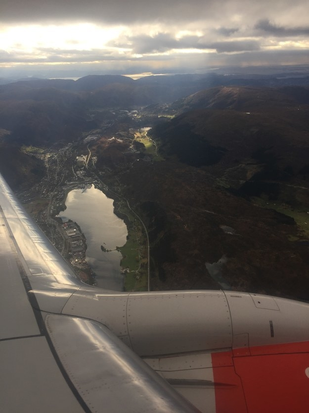 """Flying into Norway and over the fjords."""
