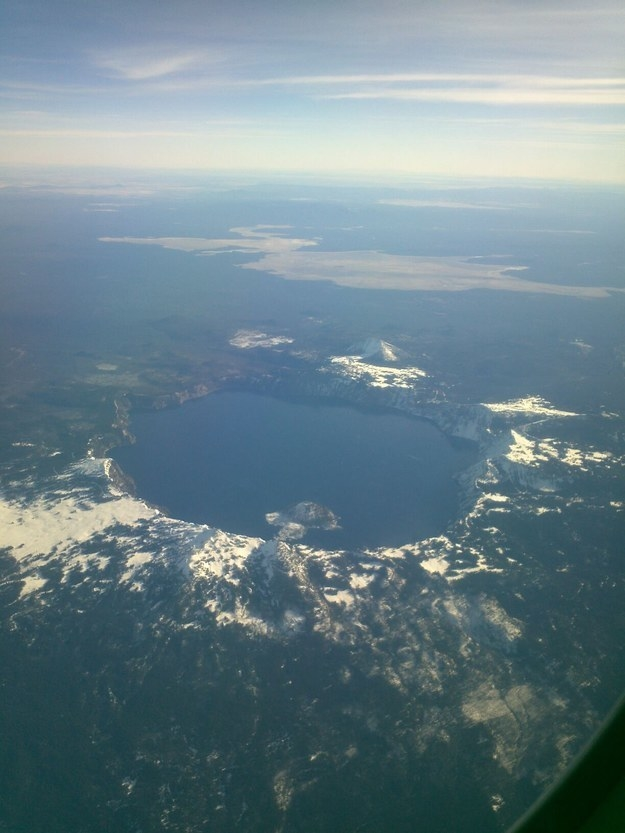 """Crater Lake from the skies."""