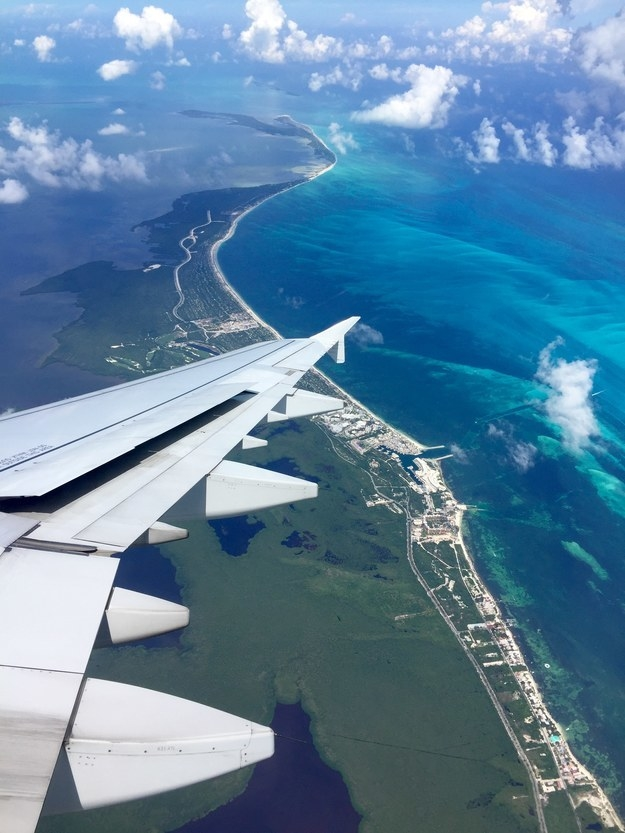 """Flying into Cancun, Mexico."""