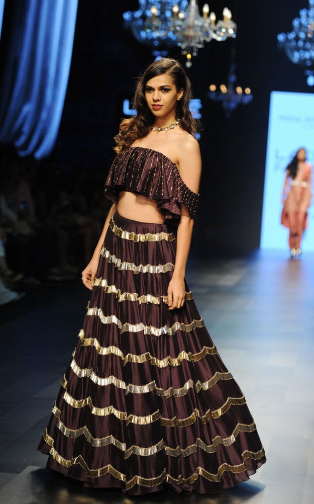 If you want something sexier, get a tinier version like this off-shoulder choli.