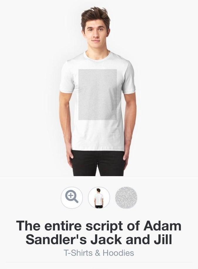 """Esta camiseta com todo o script do filme """"Cada um tem a Gêmea que Merece""""."""