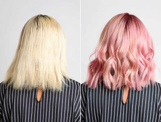 Take a look at this flawless transition from bland blonde to brilliant pink.