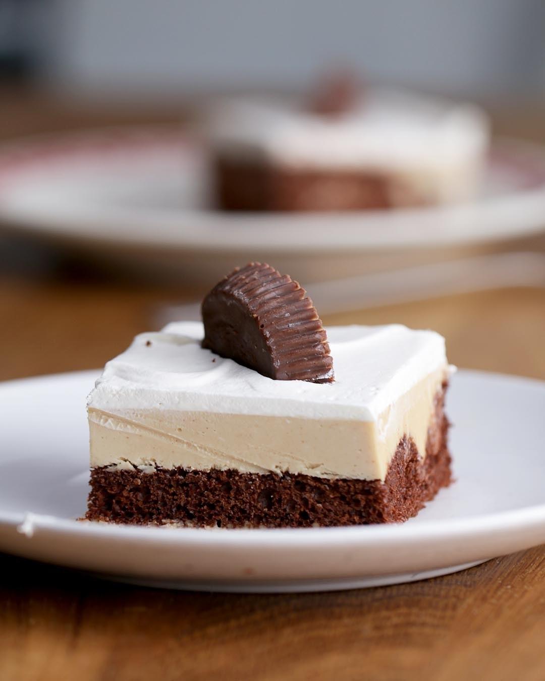 Chocolate Peanut Butter Poke Cake