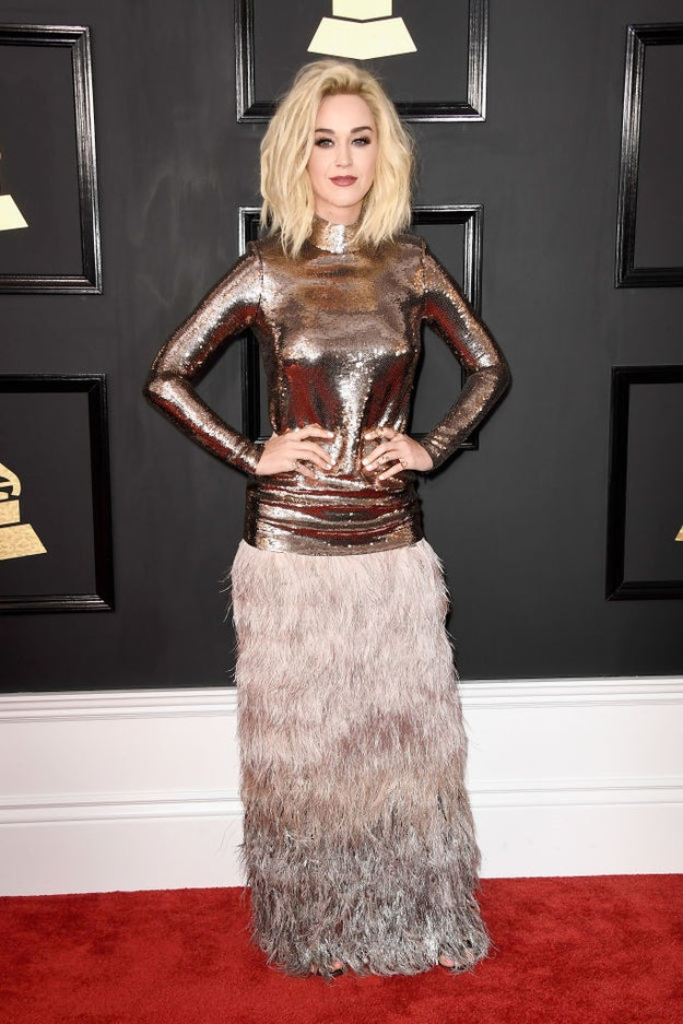 Katy Perry showed up at the Grammy Awards tonight wearing what can only be described as Quite A Look.
