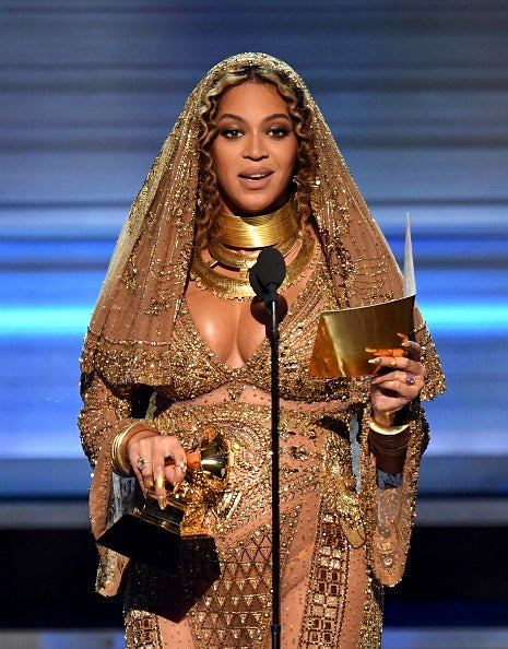Recording artist Beyonce accepts the Best Urban Contemporary Album award for 'Lemonade' onstage during The 59th GRAMMY Awards.