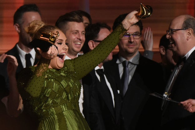 After the speech, when the cameras had stopped rolling, Adele put her money where her mouth was and broke the actual Grammy award in two, as a gesture to her idol.