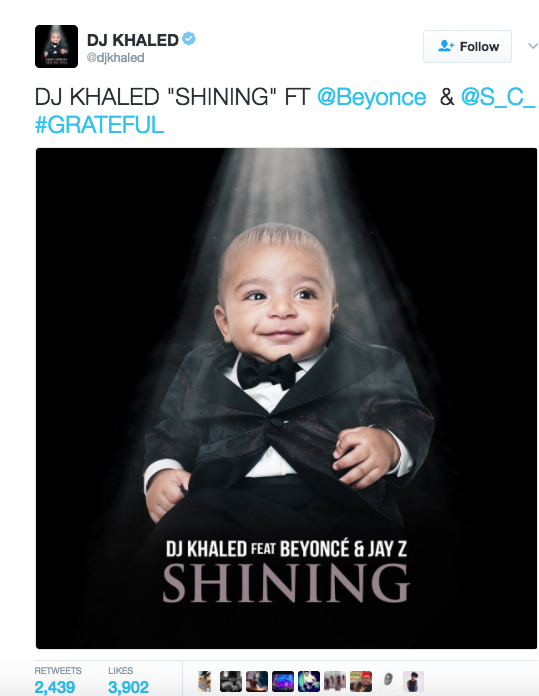 """But because she's Beyoncé, she had to fuck us up even more after the show with a new song, """"Shining."""" The track is by DJ Khaled, featuring vocals and rapping from Bey and Jay."""