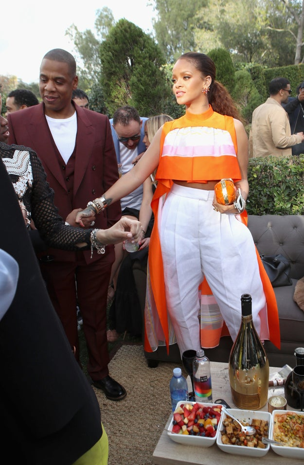 Rihanna also showed up in her Sunday best and stayed by the food for most of the party because she's all of us.