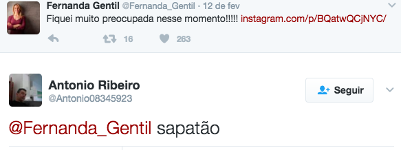 A jornalista Fernanda Gentil replicou em seu Twitter neste domingo (12) uma postagem do seu Instagram e gratuitamente um rapaz mandou uma resposta bem pouco educada.