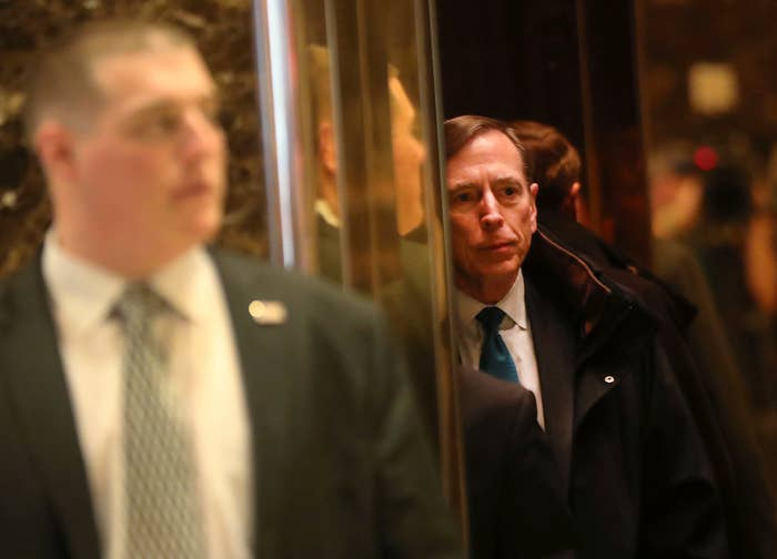 Petraeus arrives at Trump Tower on Nov. 28, 2016.