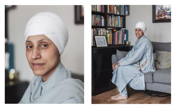 Kaur wears a pajama (a loose fitting top and trousers), a chunni (a long scarf), a dastar (a turban), a kirpan (a small sword), a kara (a metal bracelet), and malas (prayer beads).