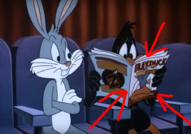 When Daffy was looking at a nudie magazine on Tiny Toon Adventures.