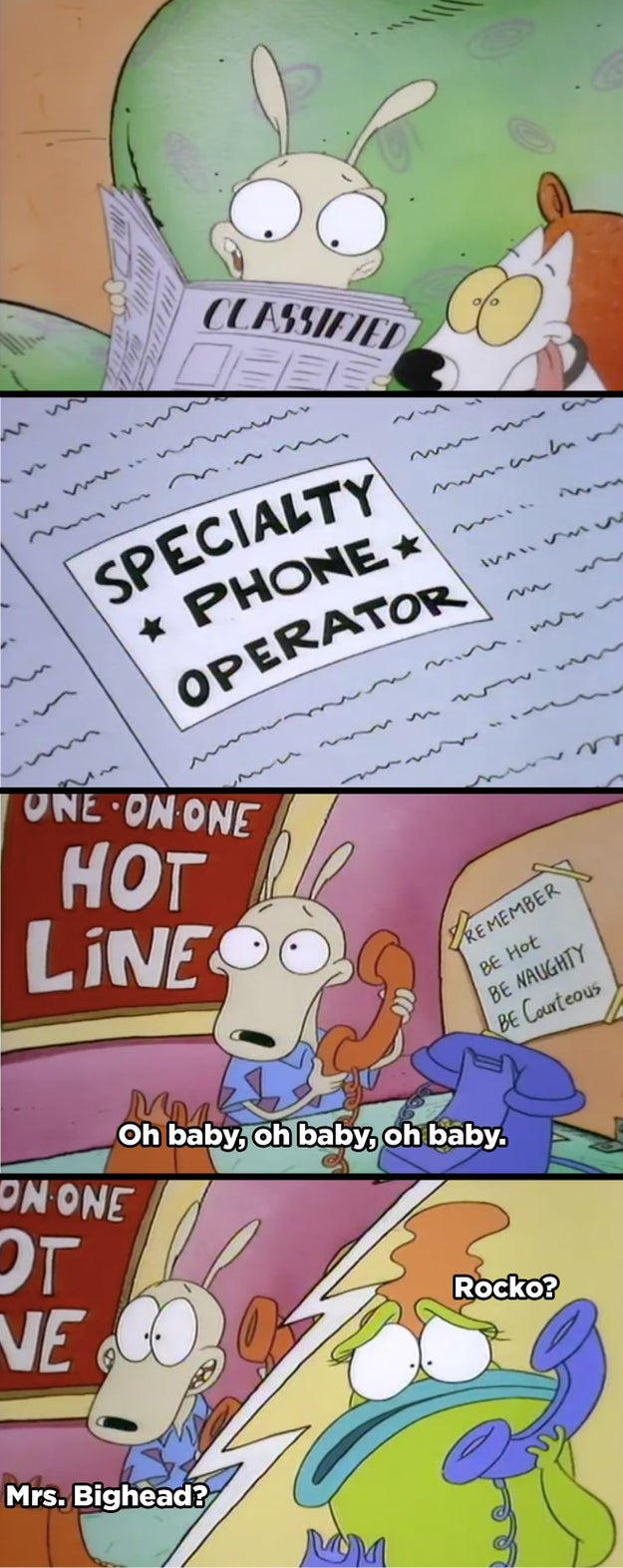 The time Rocko got a job as a phone sex operator and even provided services to Mrs. Bighead.