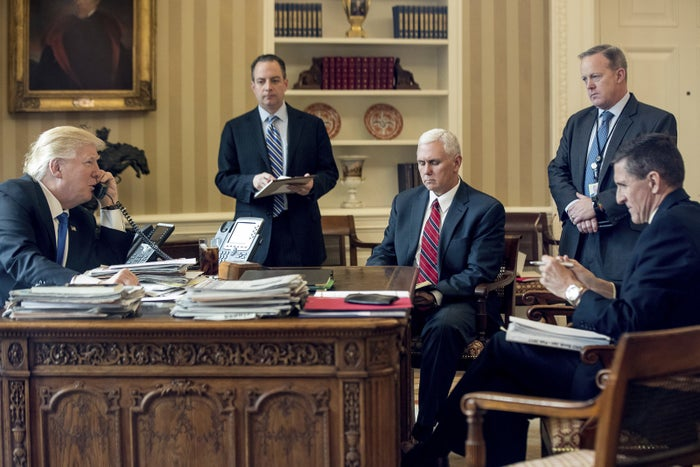 Donald Trump with, from second from left, Reince Priebus, Mike Pence, Sean Spicer, and Michael Flynn.