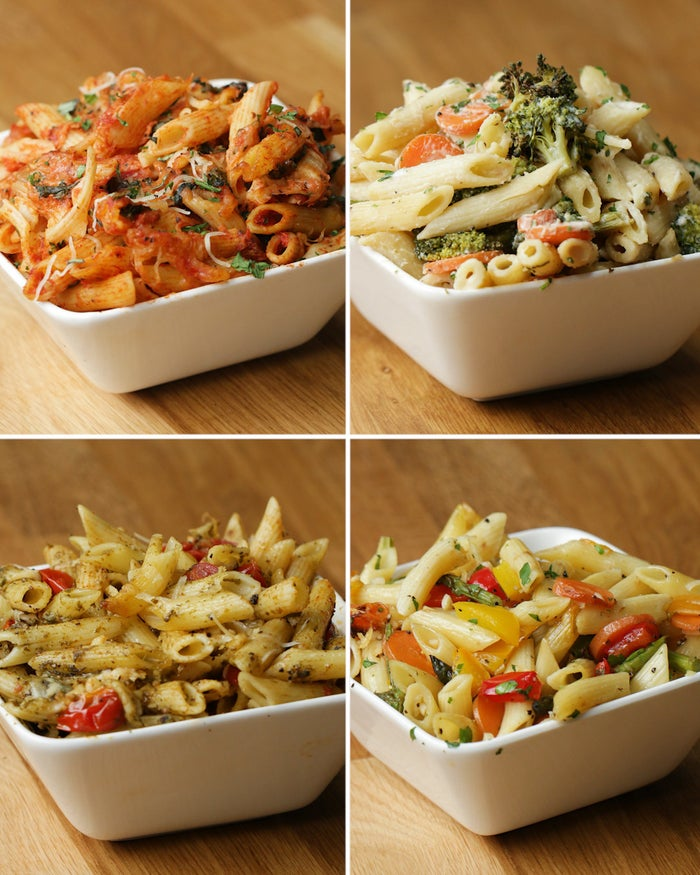CapreseServings: 2INGREDIENTS2 cups pasta, cooked al dente¾ cup onions, chopped1 cup marinara sauce⅓ cup basil, chopped1 teaspoon salt1 teaspoon pepperMozzarella (optional)PREPARATIONPreheat oven to 400ºF/200ºC.Take two sheets of aluminum foil (about 12x12-inch) and stack them on top of each other.Fold one side of the foil about ⅓ of the way across sheet, repeat for opposite side. Pinch the corner to form a point and then flatten it to the short side of the foil, forming a raised corner. Repeat for all four sides, and make four of these.Add all of the ingredients to one of the foil boats, then stir.Bake for 12 minutes.Allow to cool for 10 minutes.Eat or pack into tupperware and refrigerate 3-5 days.AlfredoServings: 2INGREDIENTS2 cups pasta, cooked al dente½ cup carrots, sliced½ cup broccoli¾ cup alfredo sauce (from a jar is fine) 1 teaspoon salt1 teaspoon pepperPREPARATIONPreheat oven to 400ºF/200ºC.Take two sheets of aluminum foil (about 12x12-inch) and stack them on top of each other.Fold one side of the foil about ⅓ of the way across sheet, repeat for opposite side. Pinch the corner to form a point and then flatten it to the short side of the foil, forming a raised corner. Repeat for all four sides, and make four of these.Add all of the ingredients to one of the foil boats, then stir.Bake for 12 minutes.Allow to cool for 10 minutes.Eat or pack into tupperware and refrigerate 3-5 days.PestoServings: 2INGREDIENTS2 cups pasta, cooked al dente1 cup cherry tomatoes, halved¾ cup pesto1 teaspoon salt1 teaspoon pepperParmesan cheese (optional)PREPARATIONPreheat oven to 400ºF/200ºC.Take two sheets of aluminum foil (about 12x12-inch) and stack them on top of each other.Fold one side of the foil about ⅓ of the way across sheet, repeat for opposite side. Pinch the corner to form a point and then flatten it to the short side of the foil, forming a raised corner. Repeat for all four sides, and make four of these.Add all of the ingredients to one of the foil boats, then stir.Ba