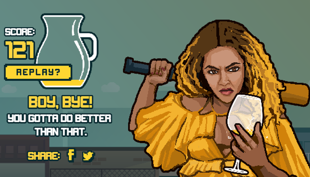 The more you run into obstacles, the angrier Bey gets, until you eventually lose out the round.