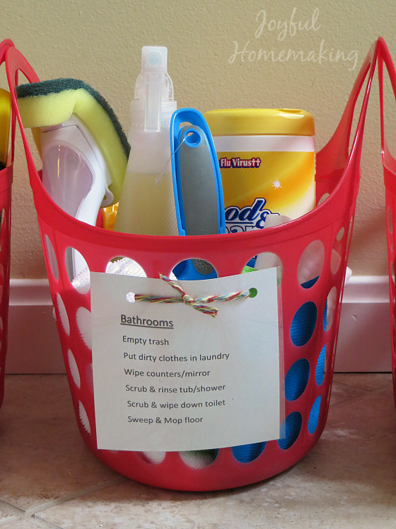 Keep cleaning supplies in every room.