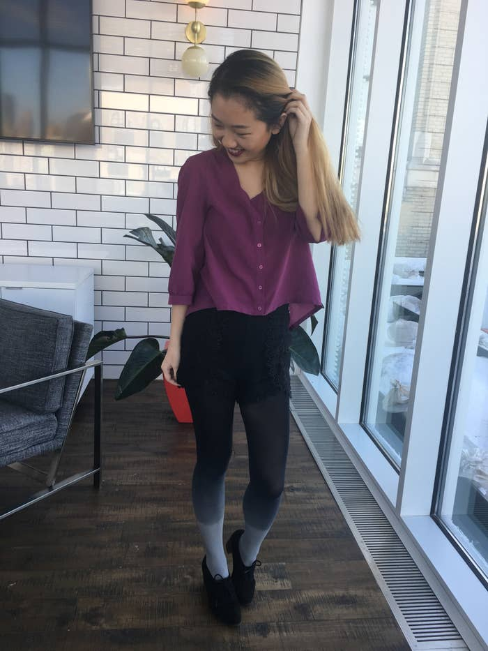 """""""I'm not picky when it comes to tights — they just can't be itchy AF, won't rip upon the first wear (hmu if you find a pair of sheer tights that don't do this ,@urbanoutfitters), and preferably do NOT have a control top (because contrary to popular belief, I would like to be able to breathe, sit, and eat normally). Yet, most of the tights I buy immediately end up in the trash, so I've been rotating between two pairs of tights from J.Crew Factory...which aren't that great and don't keep me warm. Womp.""""That is, until these snazzy gradient tights came into the picture via a BuzzFeed post. They're super comfy to wear (they're smooth and not itchy!), haven't torn after four months of intense wear, and keep me decently warm. Basically, wearing dresses in cold weather doesn't have to be a compromise, imagine that. I've always stuck with plain black tights because I can barely coordinate colors, so I love that these tights make a statement without being difficult to pair with outfits. The subtle gray-to-black ombré is e-v-e-r-y-t-h-i-n-g.""""But honestly, the most telling perk has been all the compliments I've gotten on my tights, given that my fashion sense is a very solid meh. And not just friends and co-workers, but from random ladies at Costco in the ~hopping~ town of Naperville, Illinois. That's when you know you've made it."""" —Sarah HanGet them from Amazon for $9.99. / Available in One Size Fits Most."""