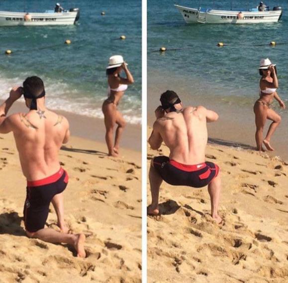 La pareja fitness: el novio que hace squats mientras toma múltiples fotos a su queridita.