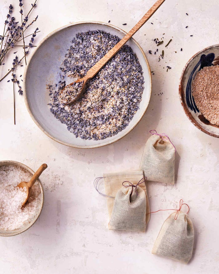 This project won't kill your relaxation plans: all you need to do is mix colloidal oatmeal with lavender buds, salts, and lavender essential oil and scoop the mixture into pretty pouches. Read the tutorial on Martha Stewart.