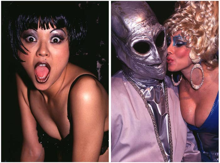 Left: Japanese singer Nokko performs at Club USA in 1993. Right: Rhonda Shear kisses a masked partygoer at Film Studio in 1995.