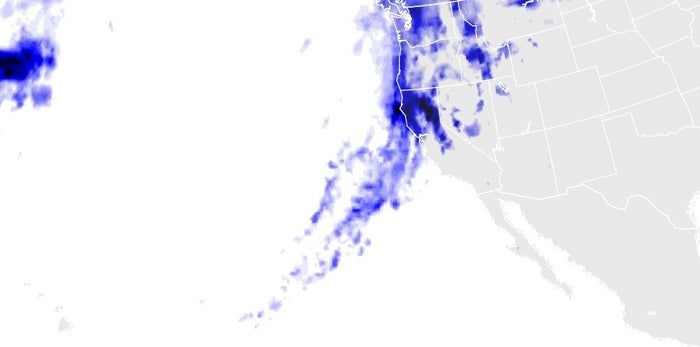 On Feb. 9, Northern California was drenched by a massive storm system; darker blues show more rain or snow.