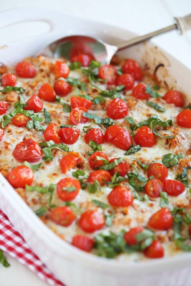 Cheesy Caprese Chicken and Quinoa Casserole
