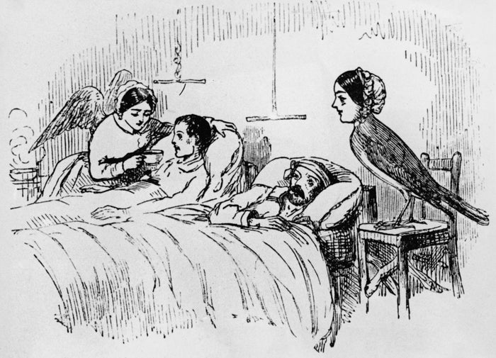 Even when, for some reason, they've been illustrated to look like birds, as in this drawing of nurse Florence Nightingale as a bird.