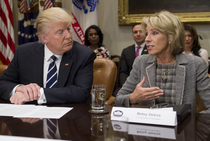 President Trump and Education Secretary DeVos attend a meeting with teachers, school administrators, and parents at the White House.