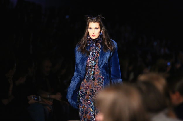 And here's Bella Hadid walking in the very same show.