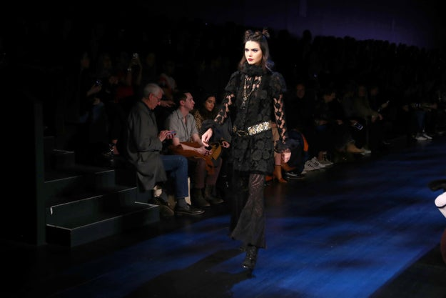 Here's Kendall Jenner walking down the runway at the Anna Sui show at New York Fashion Week.