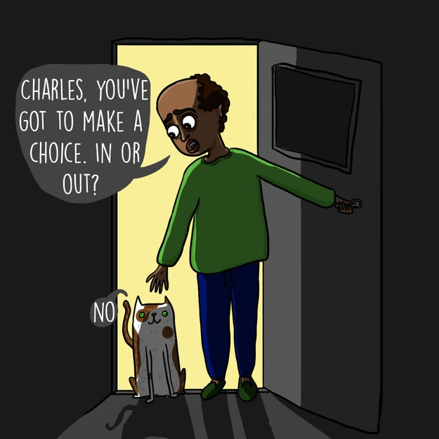 Spending hours of your life standing in open doorways trying to reason with your cat to make a decision.